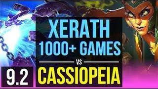 #league of legends#XERATH vs CASSIOPEIA| 1000+ games, solo kills, KDA 16/2/3 | EUW Diamond | v9.2
