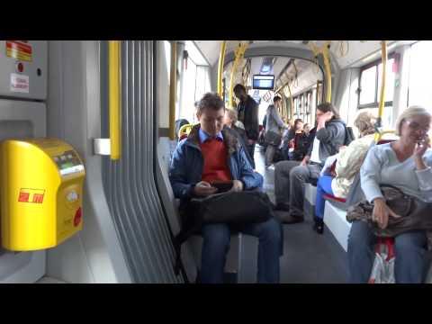 Tram ride in Warsaw, Poland