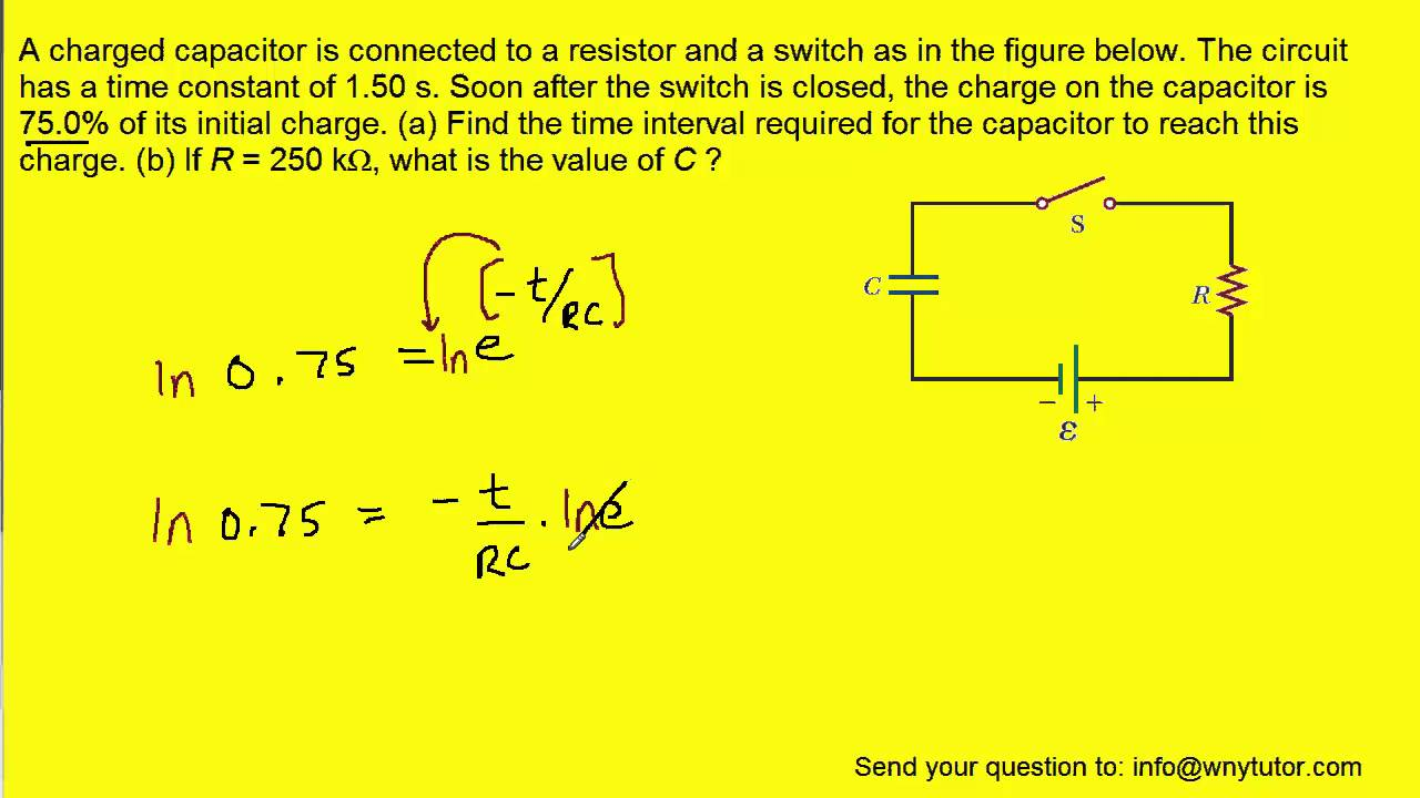 A charged capacitor is connected to a resistor and a switch as in ...