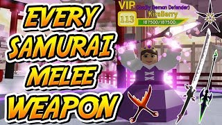 ALL NEW SAMURAI PALACE MELEE WEAPONS IN DUNGEON QUEST!!! (Roblox)