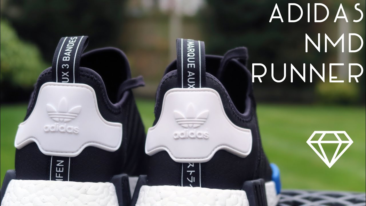 88c5b2aac ... coupon code for adidas nmd runner r1 black white blue close look on  feet 8c5df 9081e