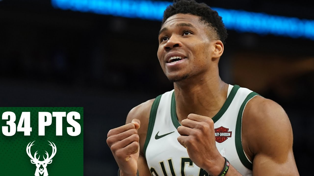Giannis records a double-double of 34 points and 15 rebounds for Bucks | 2019-20 NBA Highlights