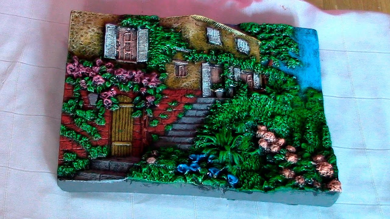 Como pintar un paisaje de yeso o escayola how to paint a - Cuadros de escayola ...