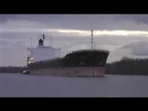 OCEAN FREIGHTER ON THE DELAWARE RIVER AT BRISTOL, PA.
