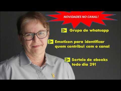 Grupo de whatsapp do canal, live e sorteio de ebooks