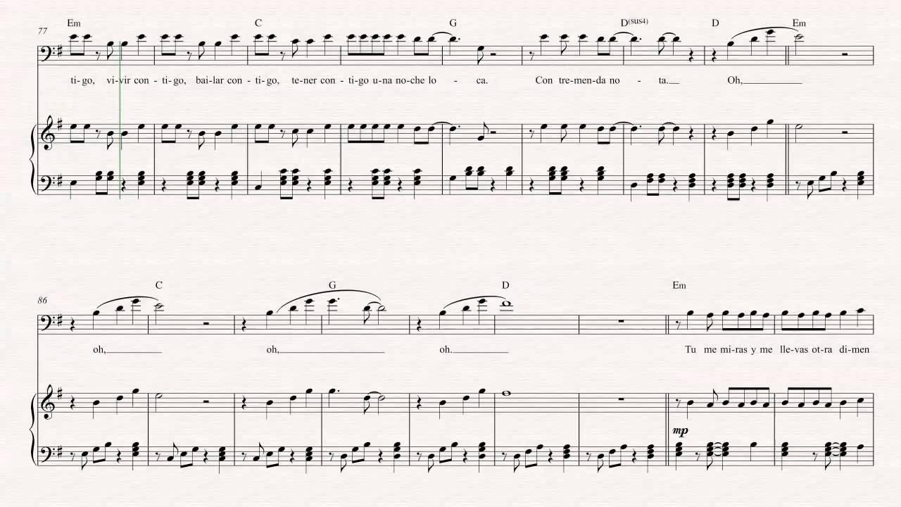 Bass bailando enrique iglesias sheet music chords vocals youtube