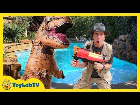 T-REX NERF WAR! Giant Life Size Dinosaur Attacks, Family Fun Parent vs Kid Battle & Toys Collection