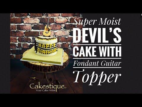 Cakestique - Super Moist Devil's Cake with Fondant Guitar Topper