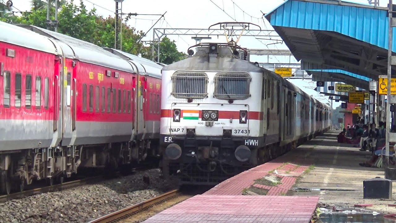 Fantastic Train Crossing :Wap7 vs wap7 : Blue Lhb Meet Red Lhb : Ajmer Express Crossing Jan shatabdi