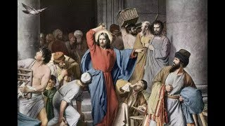 Jesus Journey to Calvary Cross Curses Fig Tree & Turns over greedy Money Changers Tables @ Temple