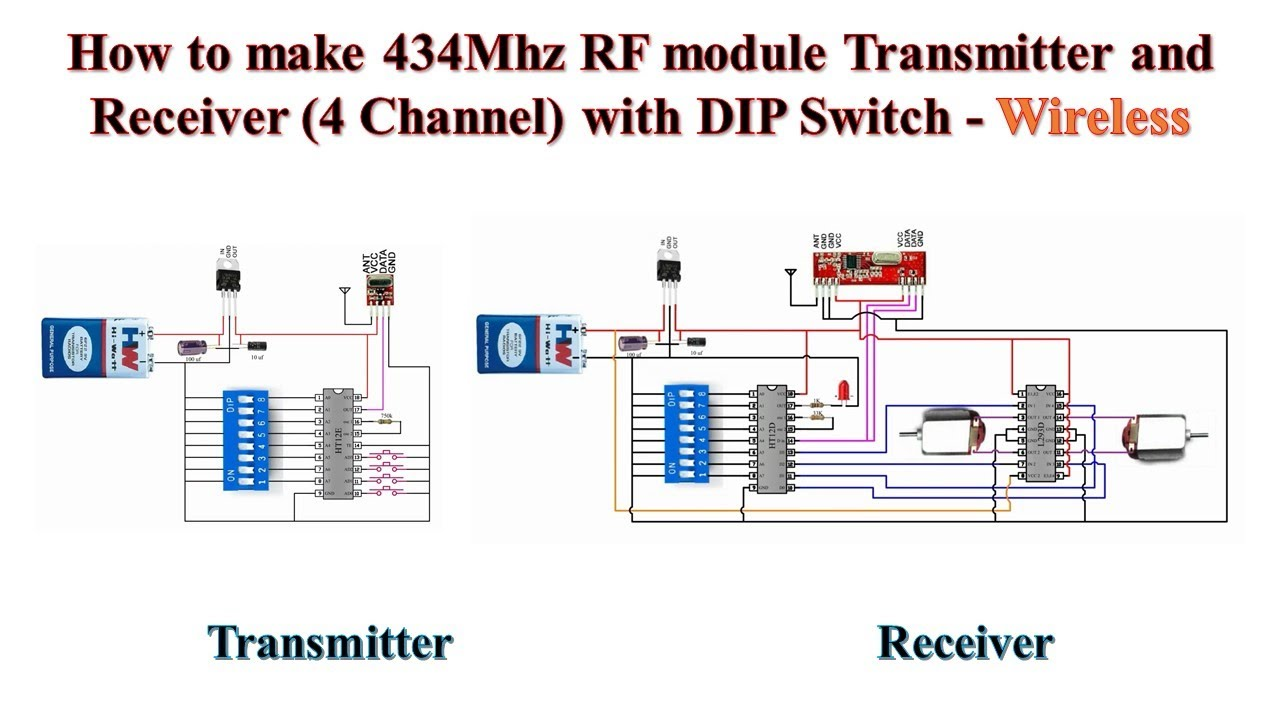 How to make 434Mhz RF module Transmitter and Receiver (4 Channel) with DIP  Switch