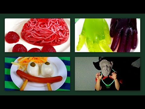 Halloween kids party food. Jelly brains. Jelly hands. Mozarella eyes. Cheese and breadsticks brooms