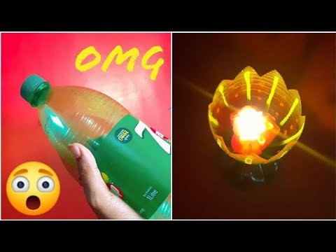 বোতল দিয়ে নাইস আইডিয়া | DIY Beautiful Candle Holder from Plastic Bottle | Best Out of Waste