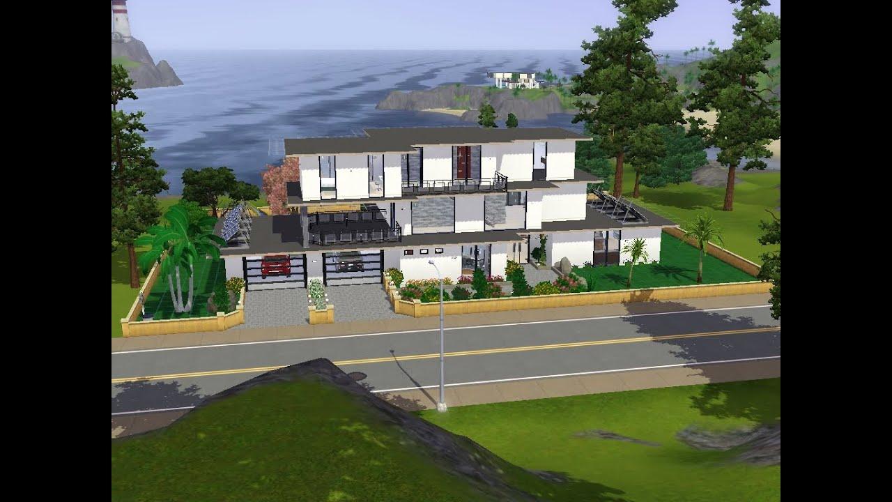 Sims 3 grande maison de r ve moderne loft monaco youtube for Grande maison moderne