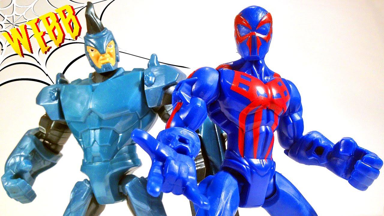 marvel super hero mashers spiderman 2099 vs rhino action