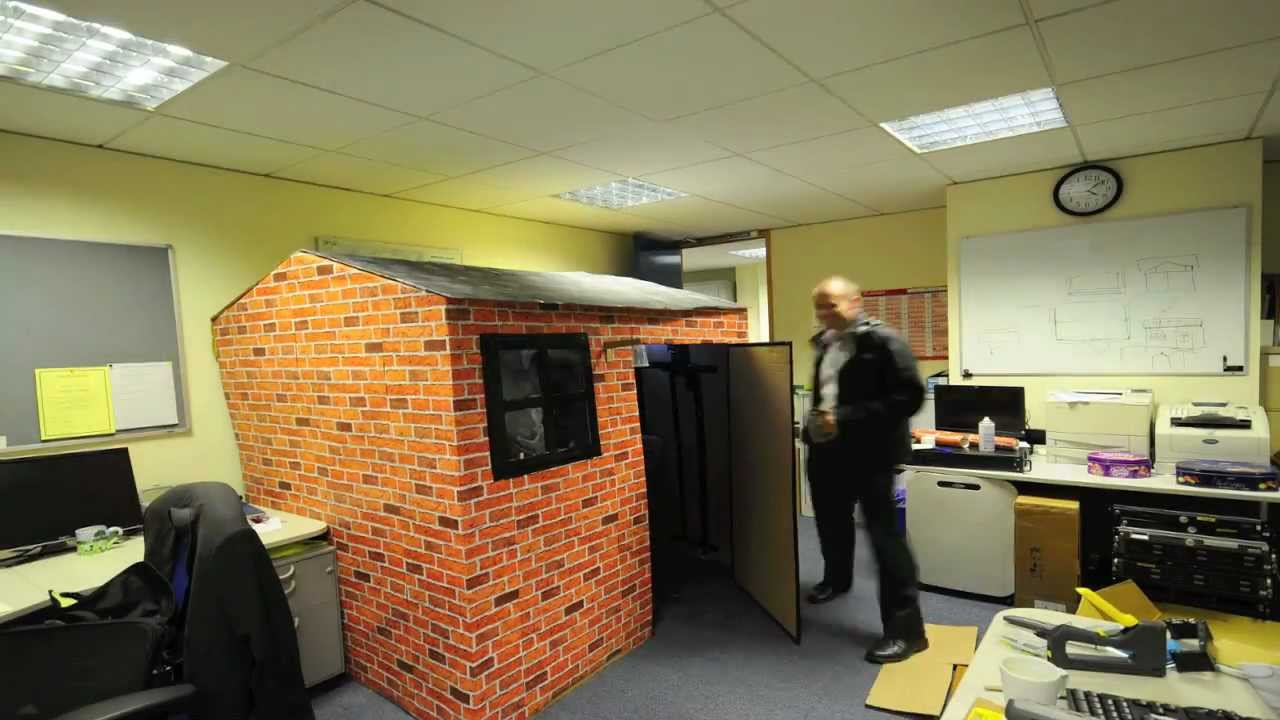 Best Office Prank - Eddies Cardboard Office House - YouTube