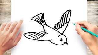 How to Draw a Bird Flying Step by Step for Kids