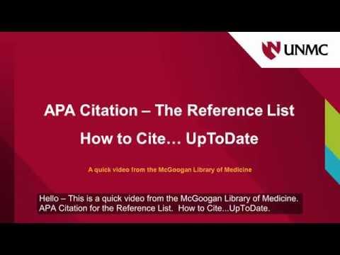 APA How to Cite UpToDate