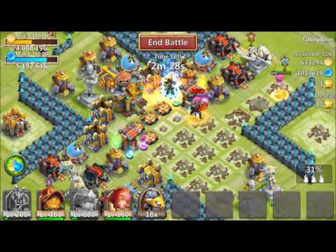 Castle Clash Level 200 DOUBLE Evolved Death Knight Game-play! (LUCKY Talent Rolling!)