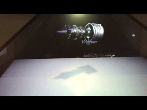 Snecma (Safran) Silvercrest jet engine hologram 3D video at EBACE 2015 Geneva Swiss