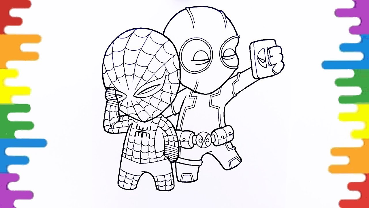 deapool spiderman coloring pages fun