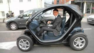 Carlos Tavares test drives the electric Renault Twizy