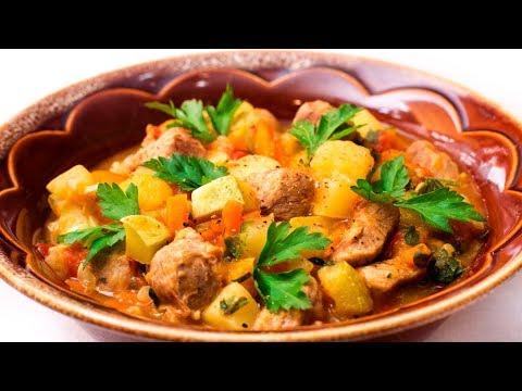 Как готовить овощное рагу с мясом видео