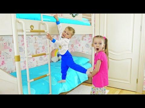 Misha Settled On Liza's Bed | Liza Pretends To Play A Nanny For Misha