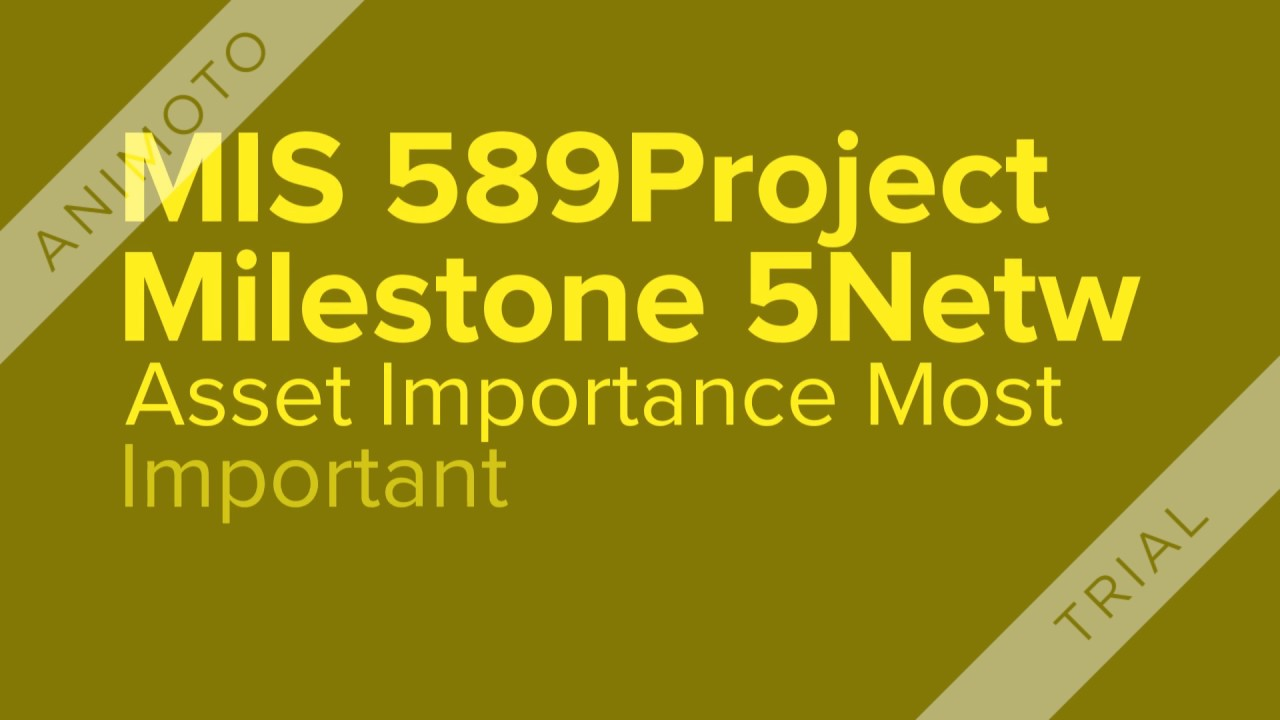 MIS 589Project Milestone 5Network Security Inventory of Assets ...