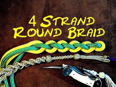 4 Strand Round Braid or 4 Strand Round Sennit - How to Tie Four Strand Braiding