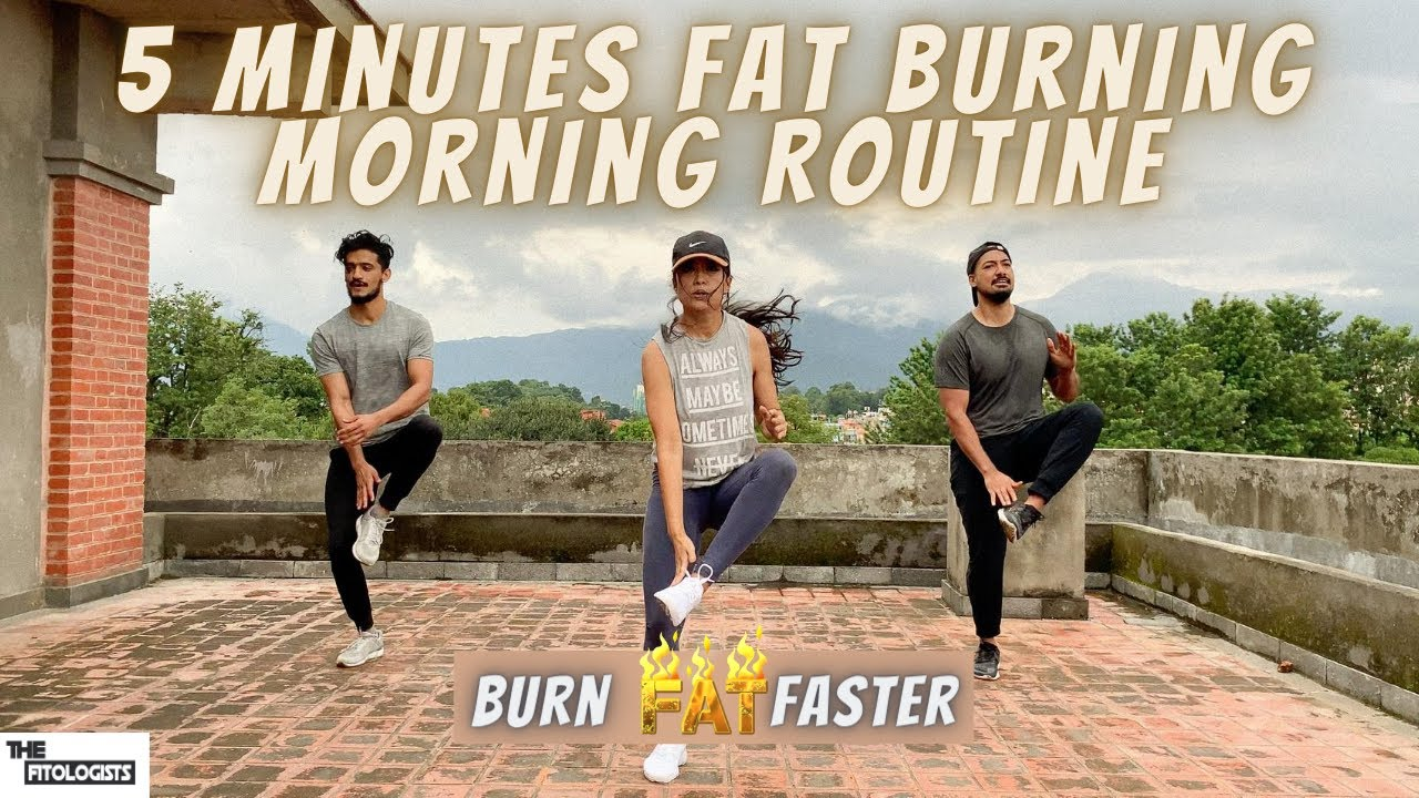 5 MINUTE FAT BURNING MORNING ROUTINE | No Equipment Needed | HIIT | The Fitologists