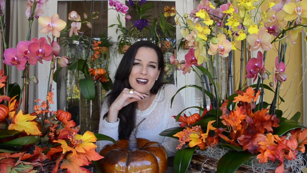 Fall Floral Arrangement Using Orchids, Fall Decorating