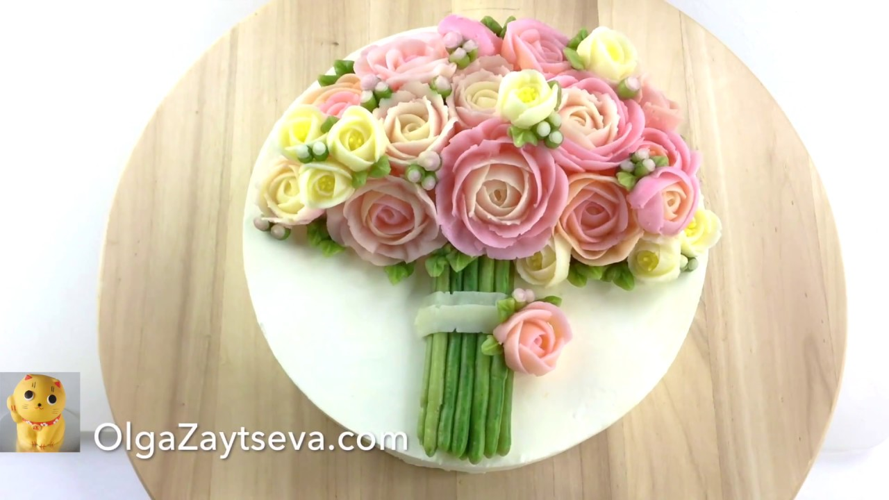 Buttercream Pink Roses Bouquet Cake Youtube