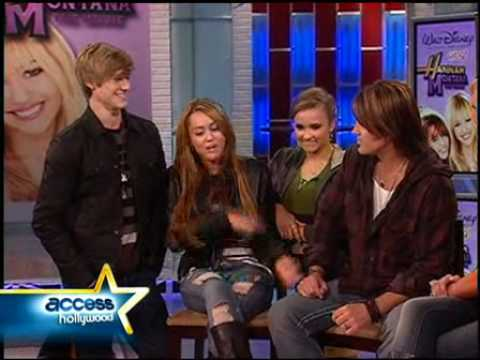 miley cyrus,lucas till,emily osment,and billy ray cyrus on access hollywood