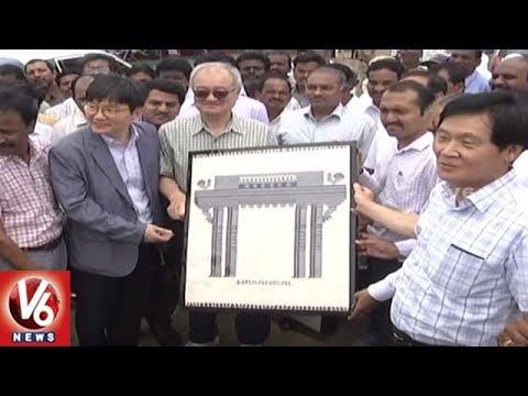 Korean Delegation Visits Upcoming Mega Textile Park In Warangal | V6 News