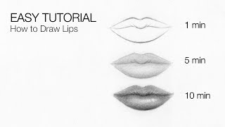 mouth easy drawing lip tutorial lips draw beginners drawings paintingvalley