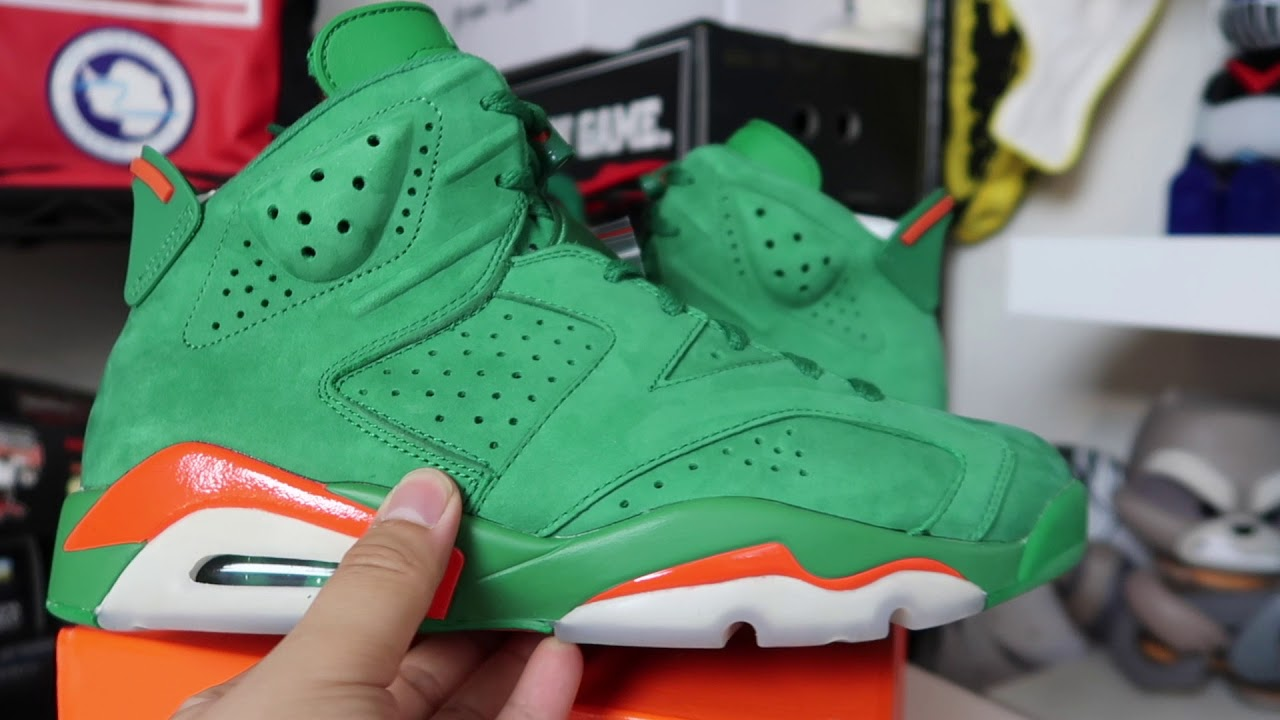 AIR JORDAN RETRO 6  GREEN GATORADE  REVIEW + ON FEET!!! - YouTube 302d3e3ec