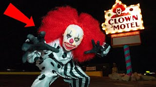 Terrifying CLOWN Encounter at Haunted Clown Motel (OVERNIGHT)