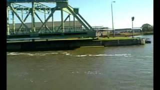 ship navigating thru lock in Bremerhaven / Germany
