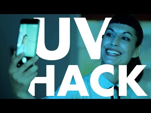 UV glow Blacklight phone hack - instant neon party trick - DIY fluorescent phosphor emitting light