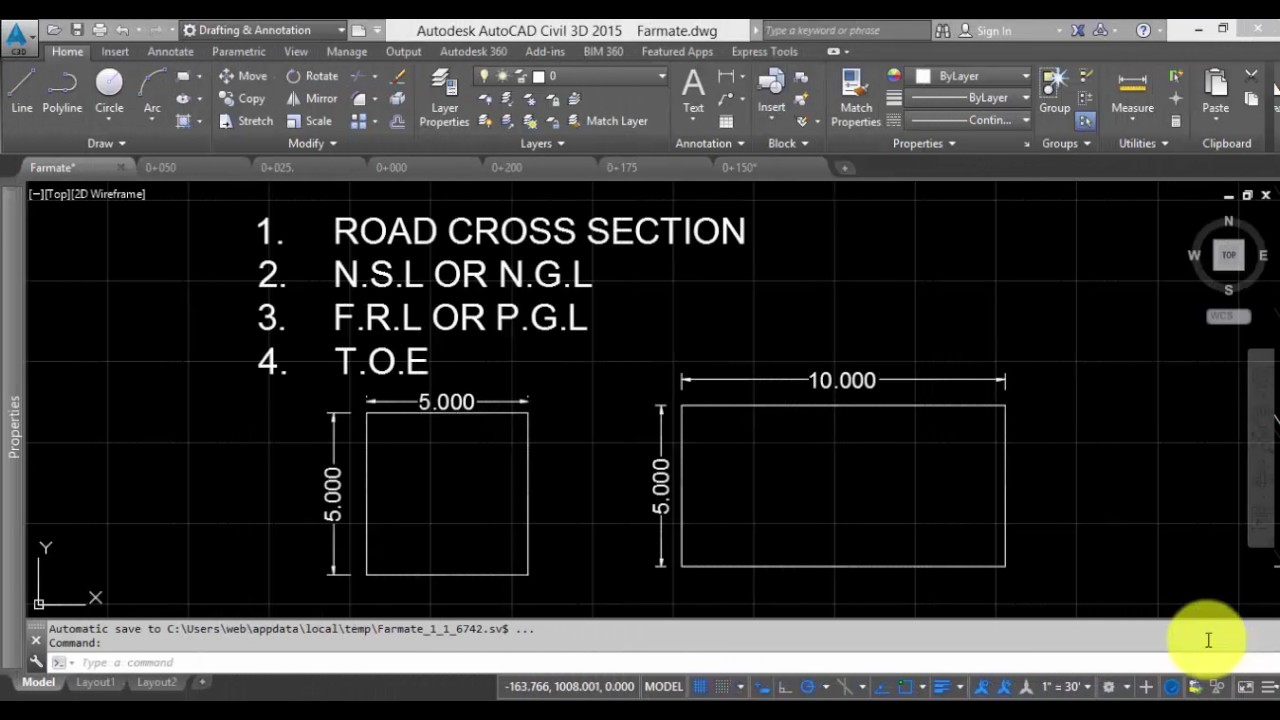 How to draw road cross section in autocad? Part-1