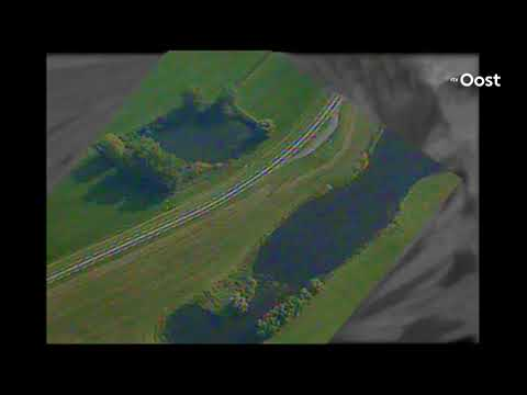 Indrukwekkende beelden scan eagle van de dijken langs de IJssel