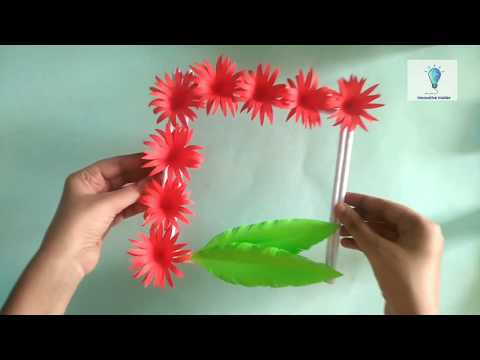 DIY Paper Wall Hanging | Easy Paper Flower Wall Hanging | Red Flowers Wall Hanging | Easy | Crafts