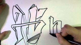 "How to draw Graffiti Letter ""H"" on paper"