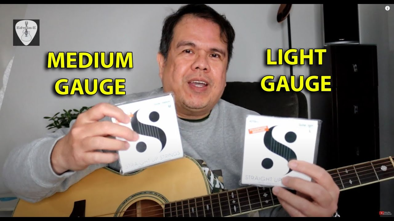 Guitar String Gauge Comparison Light Vs Medium On Crafter Tc 035 Acoustic Guitar Edwin E Youtube