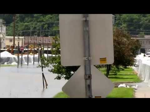 Flooding in Burlington Iowa - view of the Port of Burlington and Memorial Auditorium