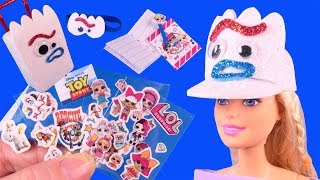 DIY Miniature Travel Barbie Crafts with FORKY Toy Story 4 and LOL Suprise School Supplies