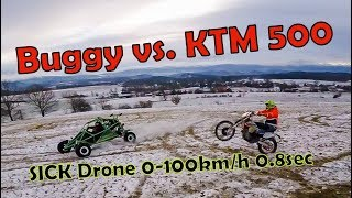 KTM 500 vs BUGGY vs DRONE fpv ( 200 km/h ) preview