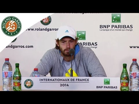 Press conference Ernests Gulbis 2014 French Open SF