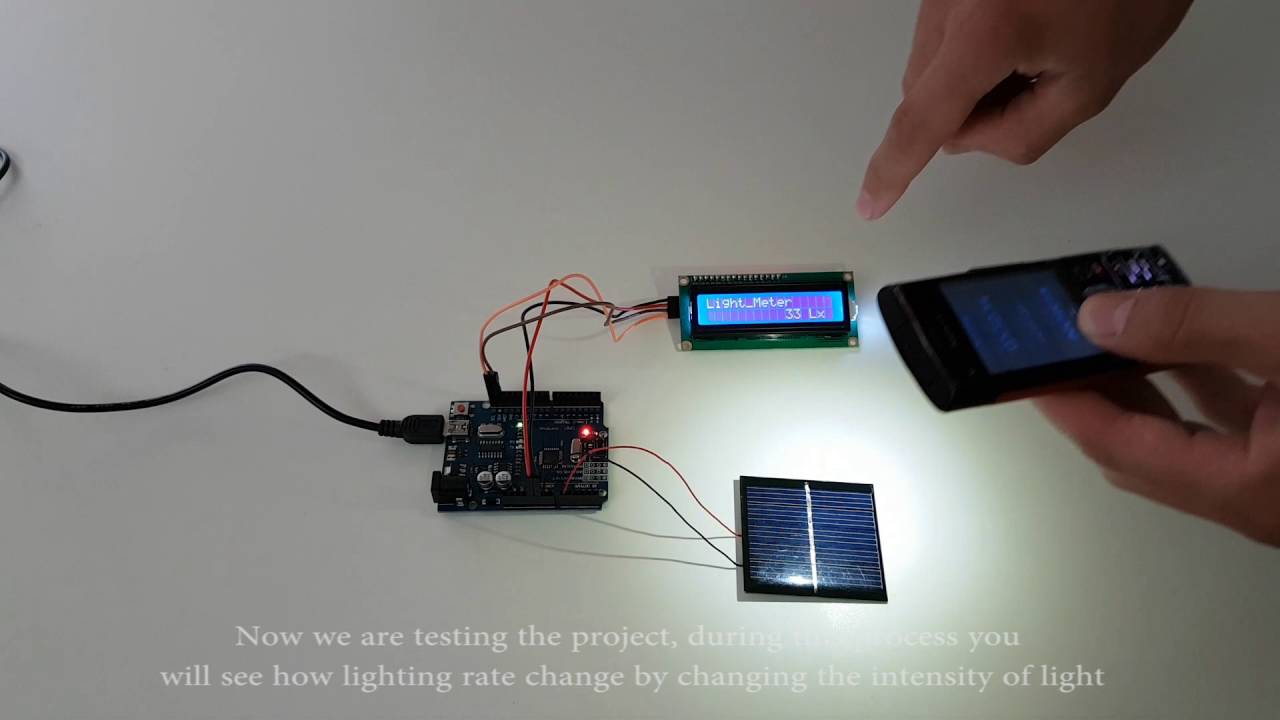 Arduino lighting rate measured by solar panel youtube
